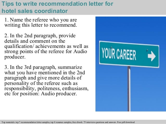 Hotel sales coordinator recommendation letter for Hotel recommendation