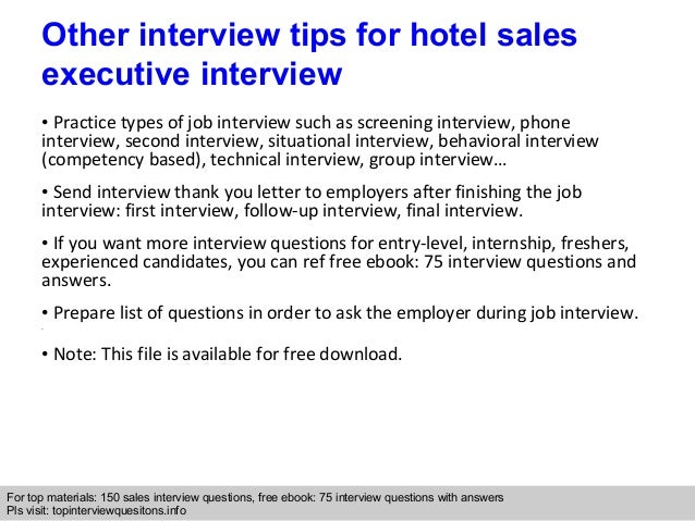 Hotel sales executive interview questions and answers