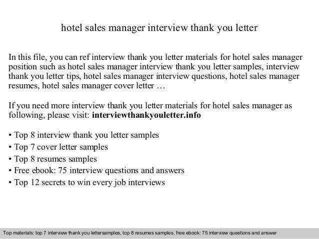 Hotel Sales Manager Interview Thank You Letter In This File, You Can Ref  Interview Thank Interview Thank You Letter Sample ...