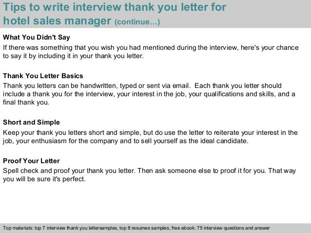 ... 4. Tips To Write Interview Thank You Letter For Hotel Sales Manager ...