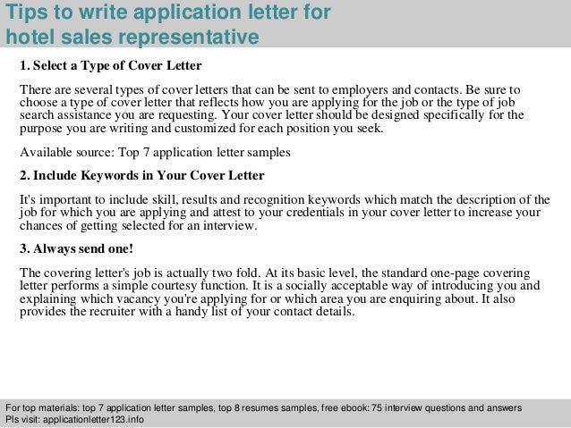 Hotel Sales Representative Application Letter