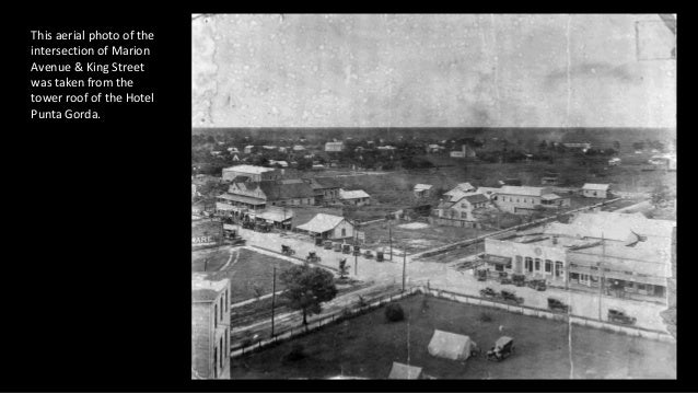 This aerial photo of the intersection of Marion Avenue & King Street was taken from the tower roof of the Hotel Punta Gord...