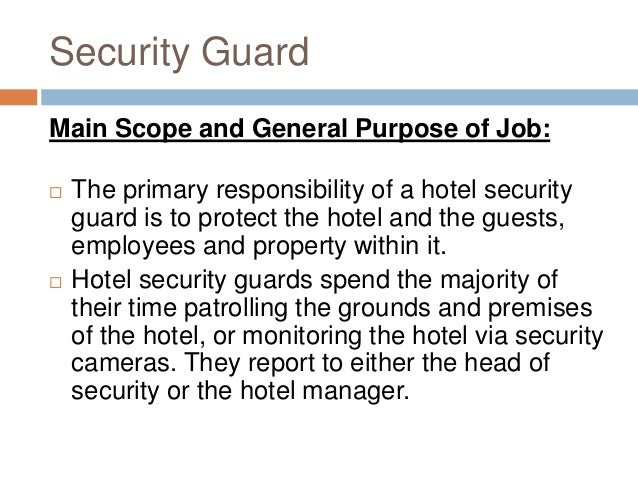 security supervisor responsibilities
