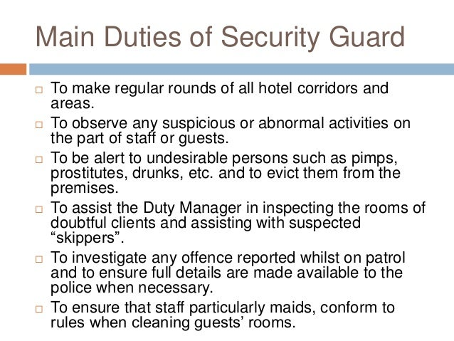 Security Officer Duties And Responsibilities Hotel