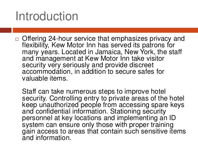 Hotel security advice for staff and managers for Kew motor inn jamaica ny