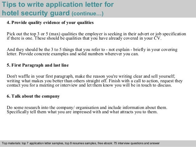 ... 4. Tips To Write Application Letter For Hotel Security Guard ...