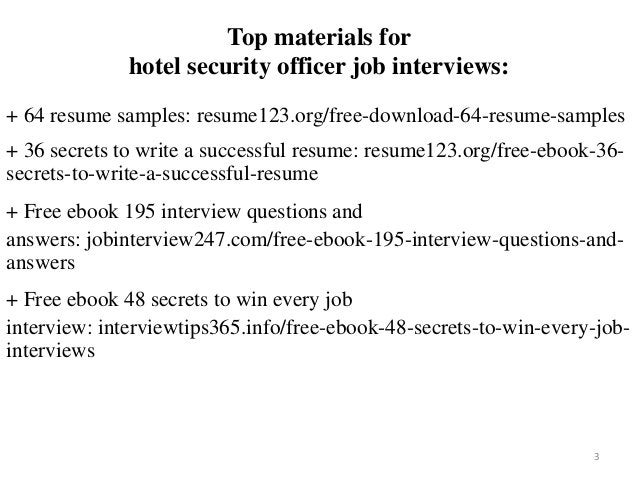 Top materials for hotel security officer job interviews: + 64 resume samples: resume123.org/free-download-64-resume-sample...
