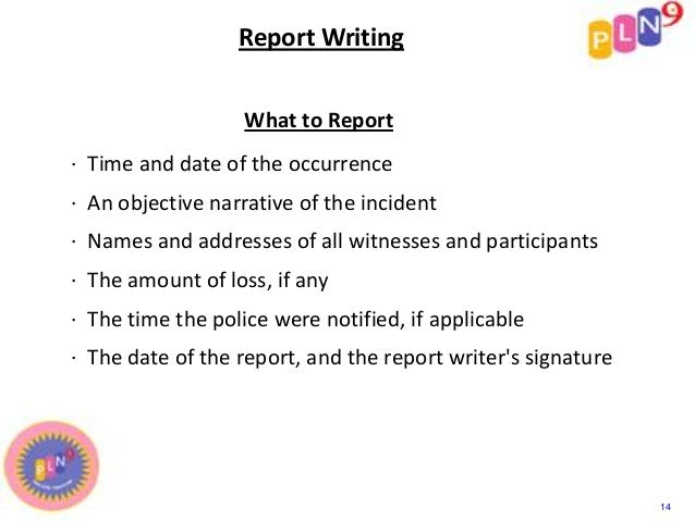 security officer report writing example