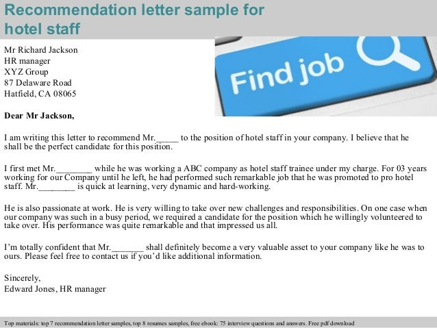 Hotel staff recommendation letter – Reference Letter for Staff