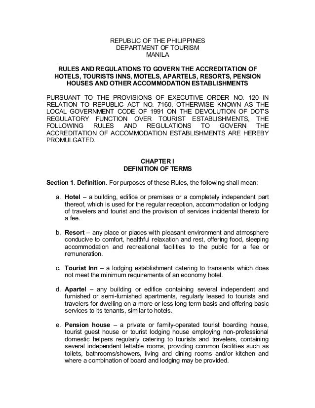 REPUBLIC OF THE PHILIPPINES DEPARTMENT TOURISM MANILA RULES AND REGULATIONS TO GOVERN ACCREDITATION