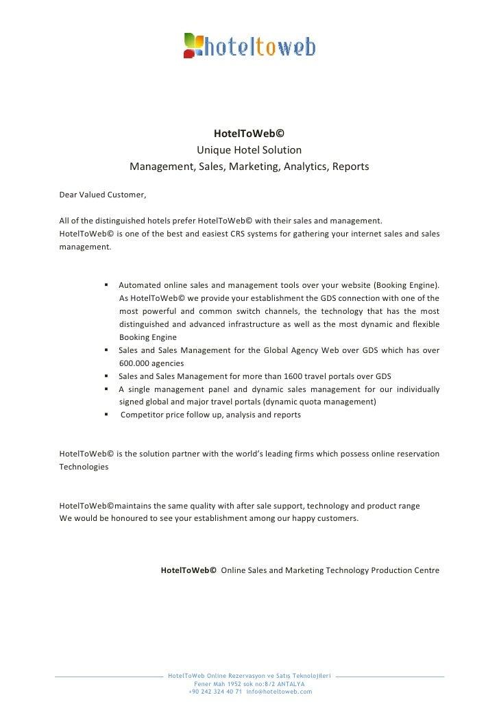 HotelToWeb©                              Unique Hotel Solution                   Management, Sales, Marketing, Analytics, ...