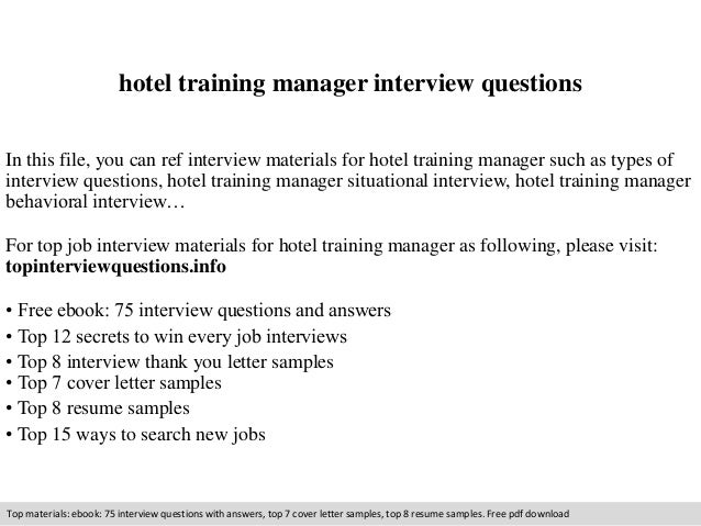 Hotel training manager interview questions