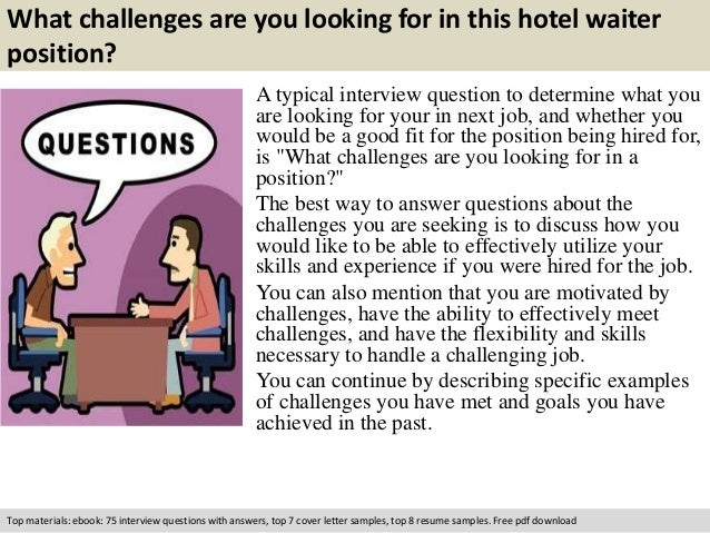 Hotel waiter interview questions