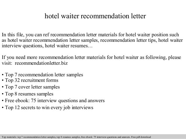 Hotel Waiter Recommendation Letter In This File, You Can Ref Recommendation  Letter Materials For Hotel ...