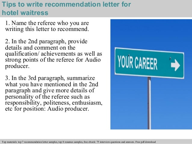 Hotel waitress recommendation letter for Hotel recommendation