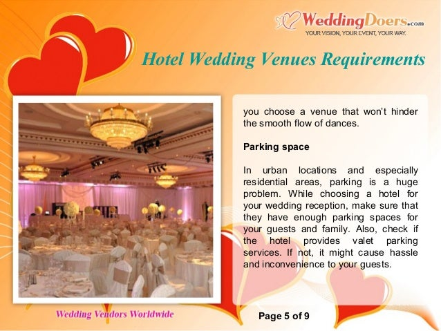 Hotel Wedding Venues Requirements