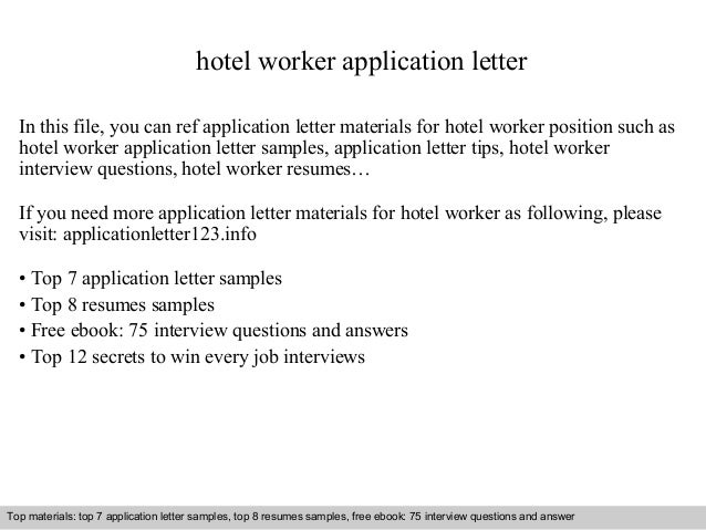 Hotel Worker Application Letter In This File, You Can Ref Application Letter  Materials For Hotel ...
