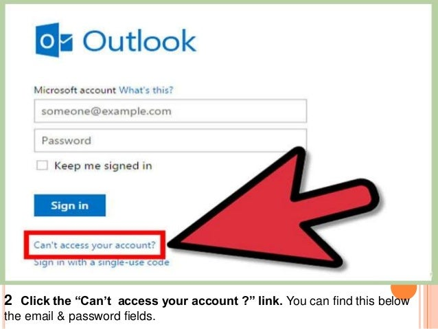 """2 Click the """"Can't access your account ?"""" link. You can find this below the email & password fields."""