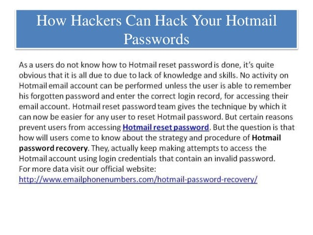 hotmail password hacker free  full version