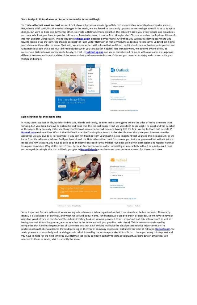 Steps to sign in Hotmail account: Aspects to consider in Hotmail ...