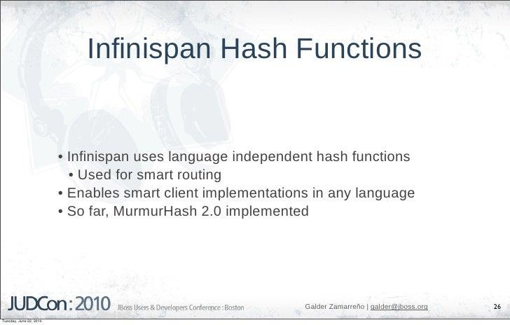 Infinispan Hash Functions                            • Infinispan uses language independent hash functions                ...