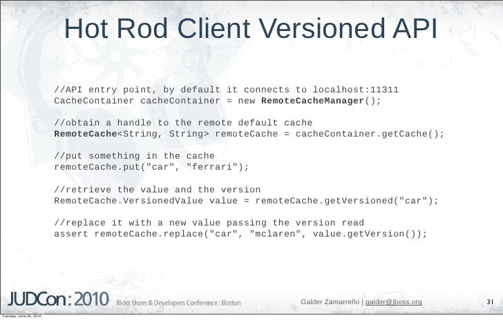 Hot Rod Client Versioned API                          //API entry point, by default it connects to localhost:11311        ...