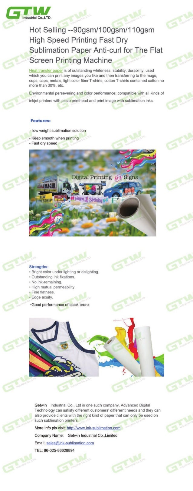 Hot selling--90gsm/100gsm/110gsm High Speed Printing Fast Dry Sublimation Paper Anti-curl for The Flat Screen Printing Mac...