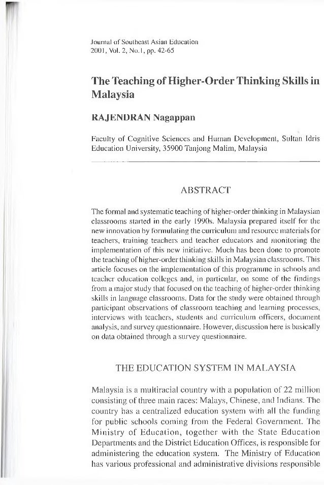 Journal of Southeast Asian Education 2001, Vol. 2, N o.l, pp. 42-65 The Teaching of Higher-Order Thinking Skills in Malays...