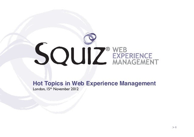 Hot Topics in Web Experience Management!London, 15th November 2012                                           > 1