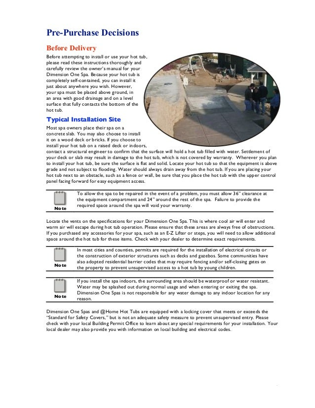 hot tub specifications guide
