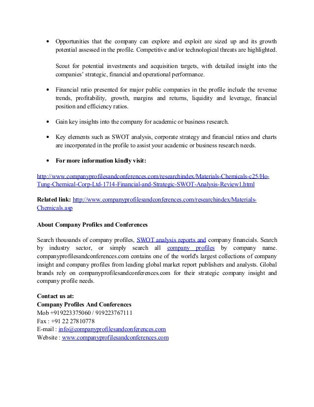 Ho tung chemical corp , ltd  financial and strategic swot