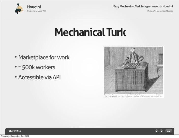 Easy Mechanical Turk Integration with Houdini Slide 2