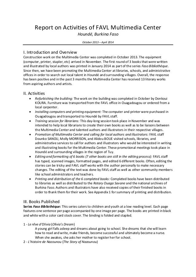 Report on Activities of FAVL Multimedia Center Houndé, Burkina Faso October 2013 – April 2014 I. Introduction and Overview...