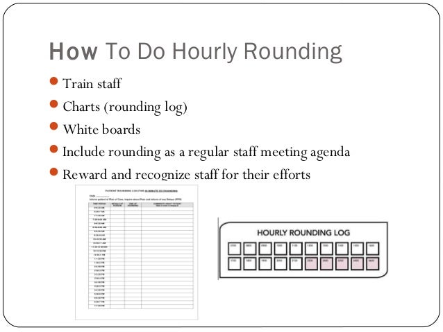 hourly rounding Studies show that proper hourly rounding promotes patient safety, quality &  satisfaction get tips & learn how to employ an hourly rounding.