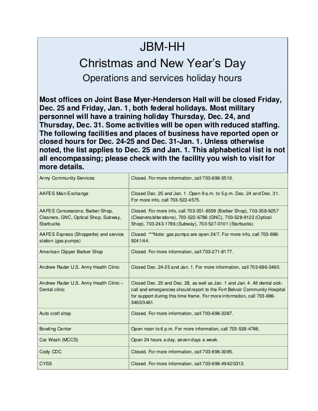 JBM-HH Christmas and New Year's Day Operations and services holiday hours Most offices on Joint Base Myer-Henderson Hall w...