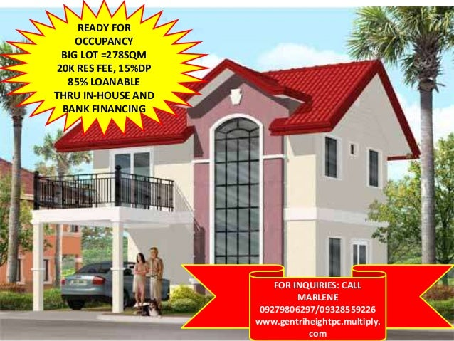 READY FOR OCCUPANCY BIG LOT =278SQM 20K RES FEE, 15%DP 85% LOANABLE THRU IN-HOUSE AND BANK FINANCING FOR INQUIRIES: CALL M...