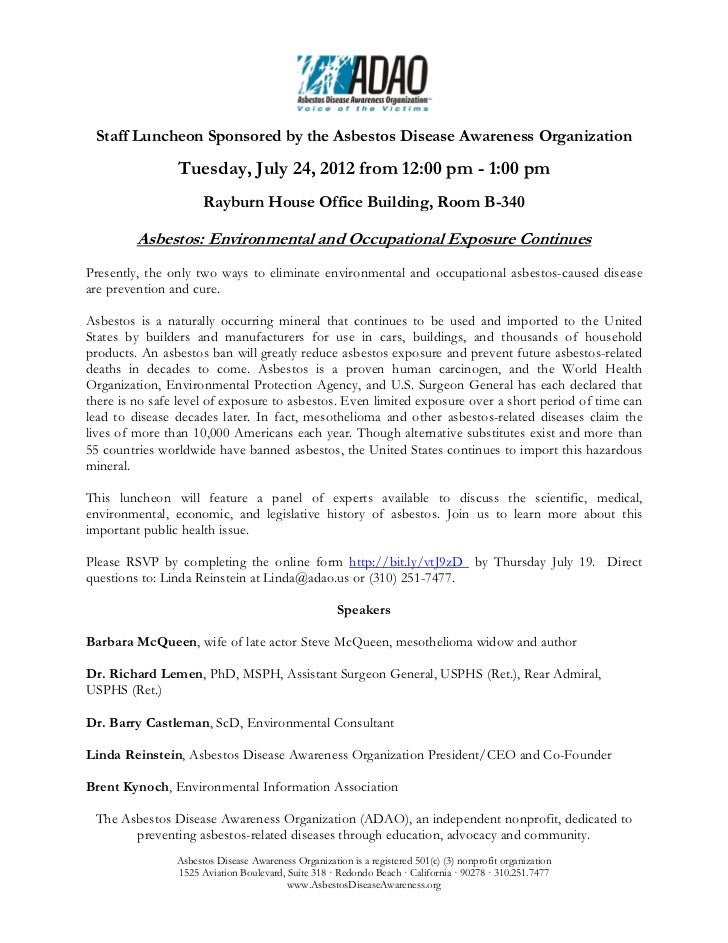 Staff Luncheon Sponsored by the Asbestos Disease Awareness Organization                Tuesday, July 24, 2012 from 12:00 p...