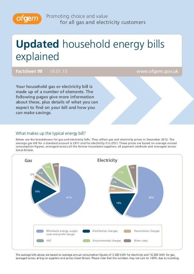 Promoting choice and value                             for all gas and electricity customersUpdated household energy bills...