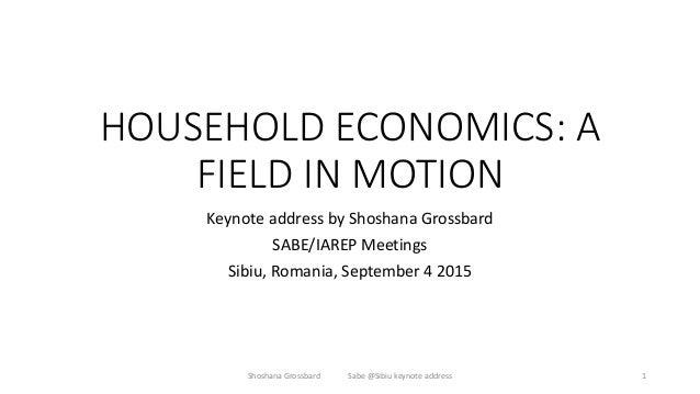 HOUSEHOLD ECONOMICS: A FIELD IN MOTION Keynote address by Shoshana Grossbard SABE/IAREP Meetings Sibiu, Romania, September...