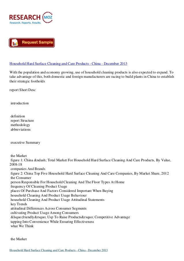 Household Hard Surface Cleaning and Care Products - China - December 2013 With the population and economy growing, use of ...