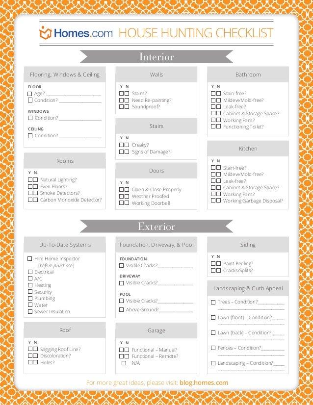 House hunting checklistinteriorflooring windows amp ceilingy