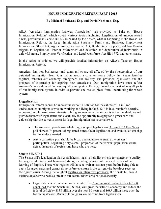 HOUSE IMMIGRATION REFORM PART I 2013 By Michael Phulwani, Esq. and David Nachman, Esq. AILA (American Immigration Lawyers ...