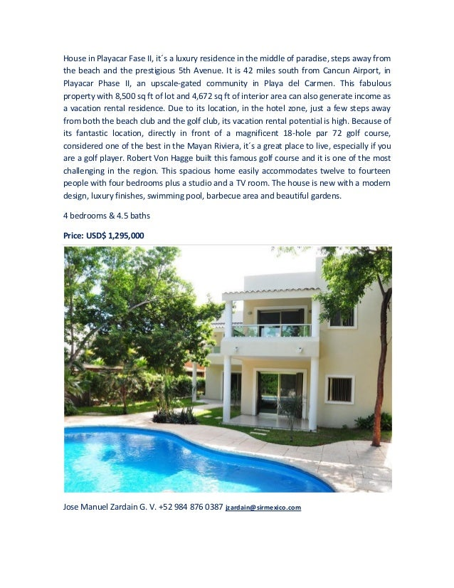 House in Playacar Fase II, it´s a luxury residence in the middle of paradise, steps away fromthe beach and the prestigious...
