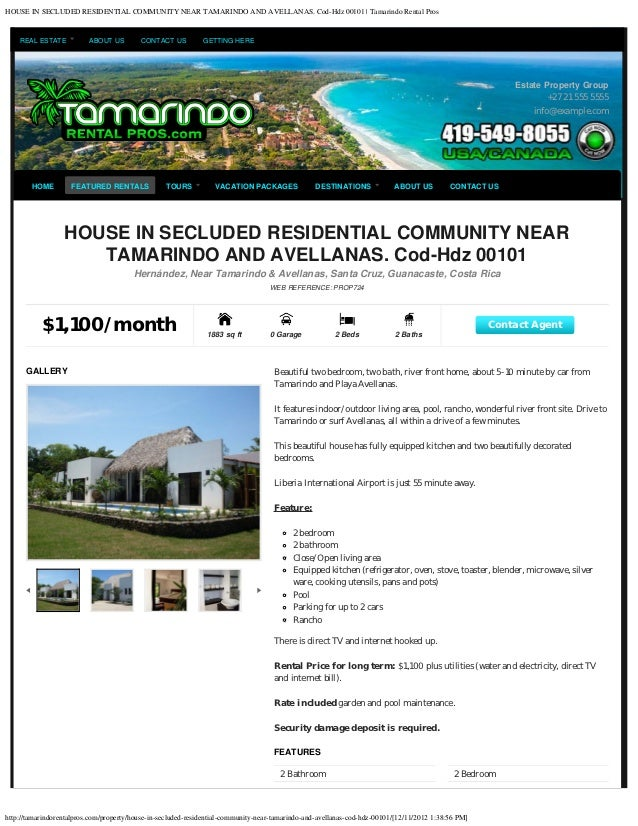 HOUSE IN SECLUDED RESIDENTIAL COMMUNITY NEAR TAMARINDO AND AVELLANAS. Cod-Hdz 00101 | Tamarindo Rental Pros    REAL ESTATE...