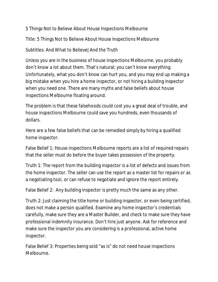 5 Things Not to Believe About House Inspections MelbourneTitle: 5 Things Not to Believe About House Inspections MelbourneS...