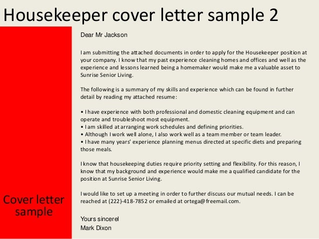 housekeeper cover letter sample - Sample Housekeeper Cover Letter
