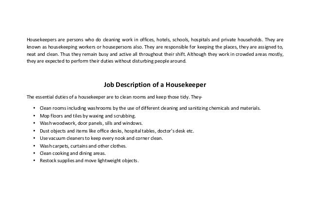 Housekeeper Resume Example 11 sample resume for restaurant manager riez sample resumes room Housekeepers