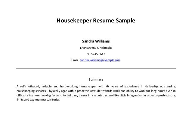 Housekeeper Resume Example choose Housekeeper Resume Sample