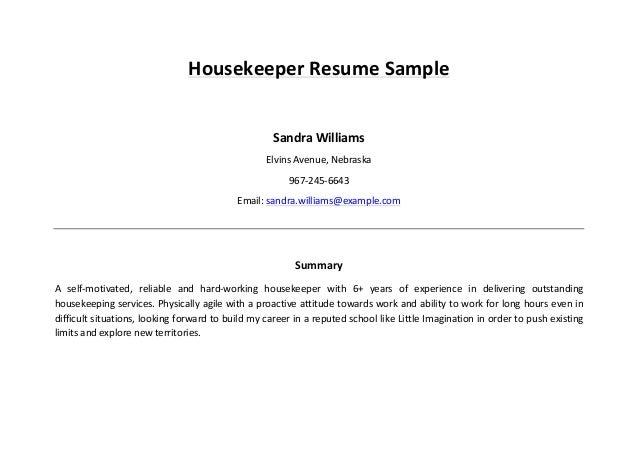 Housekeeper Resume Sample 4 638?cbu003d1458977803