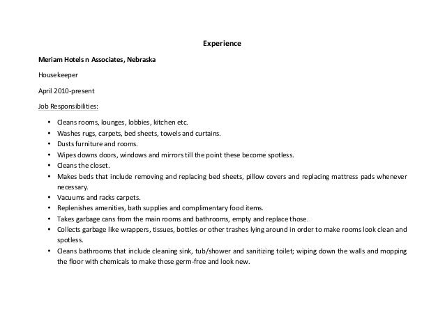 housekeeper resume sample - Housekeeping Resume Samples